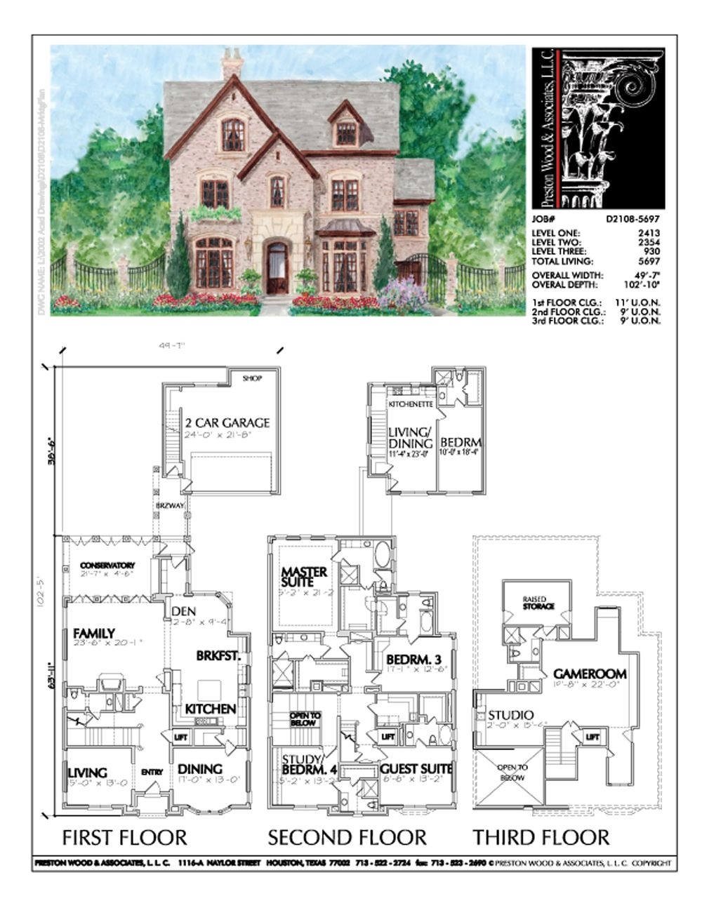 Three Story Urban Home Plan D2108 Luxury House Plans Custom Home Plans How To Plan