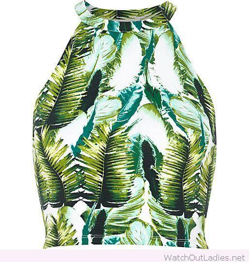 Amazing green tropical palm print crop top design