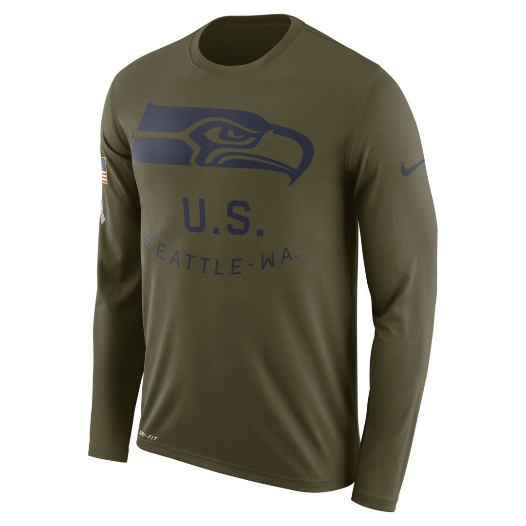 80f9c8763 Nike Legend Salute to Service (NFL Seahawks) Men s Long-Sleeve T-Shirt Size  3XL (Olive Canvas)