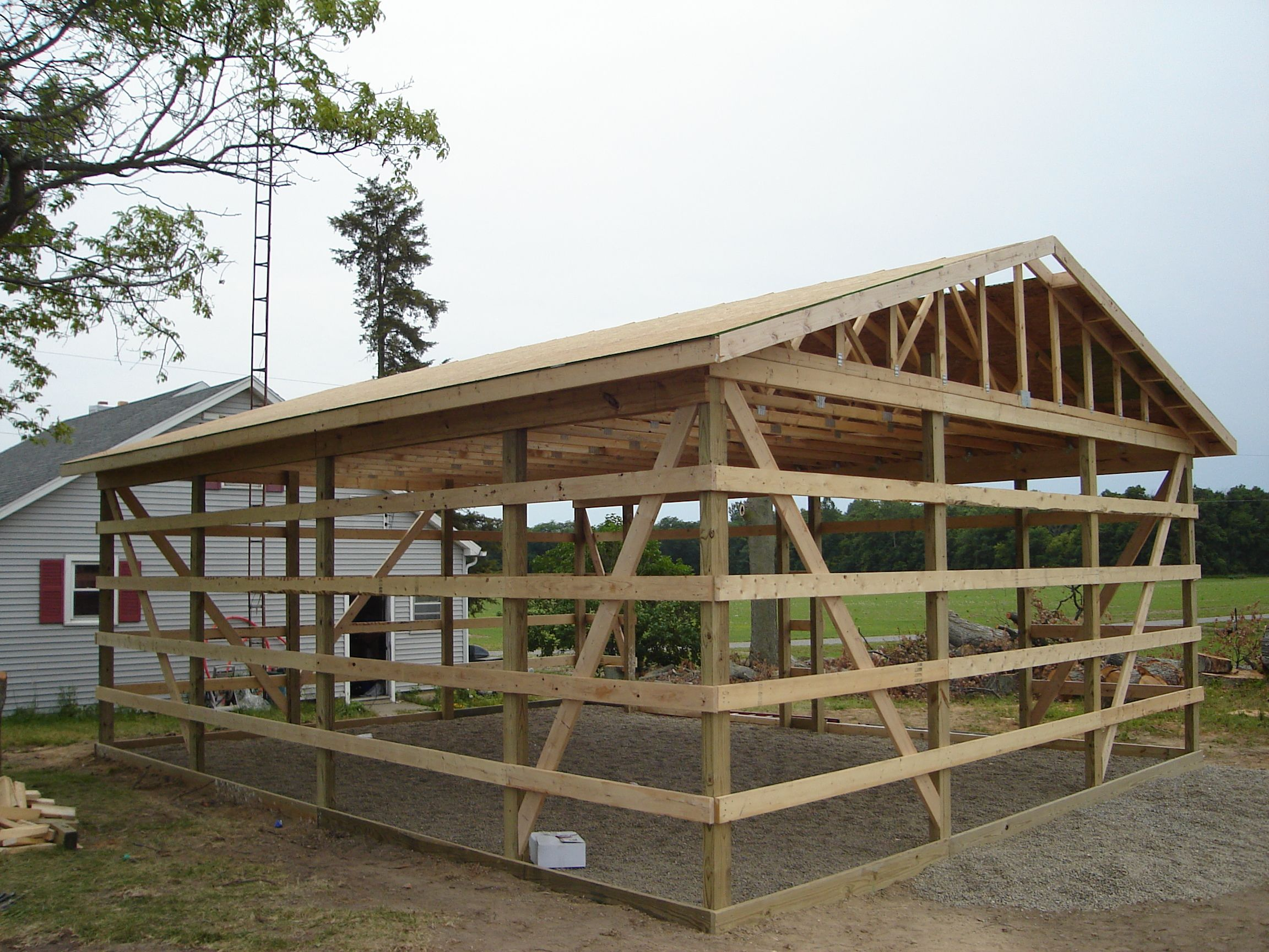 Roof decking 24 x 30 pole barn garage construction for Roof sheathing material options