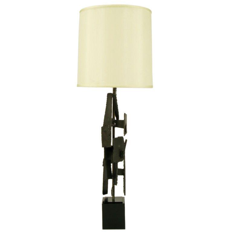 Substantial Laurel Lamp Brutalist Torch Cut Iron Table Lamp ...