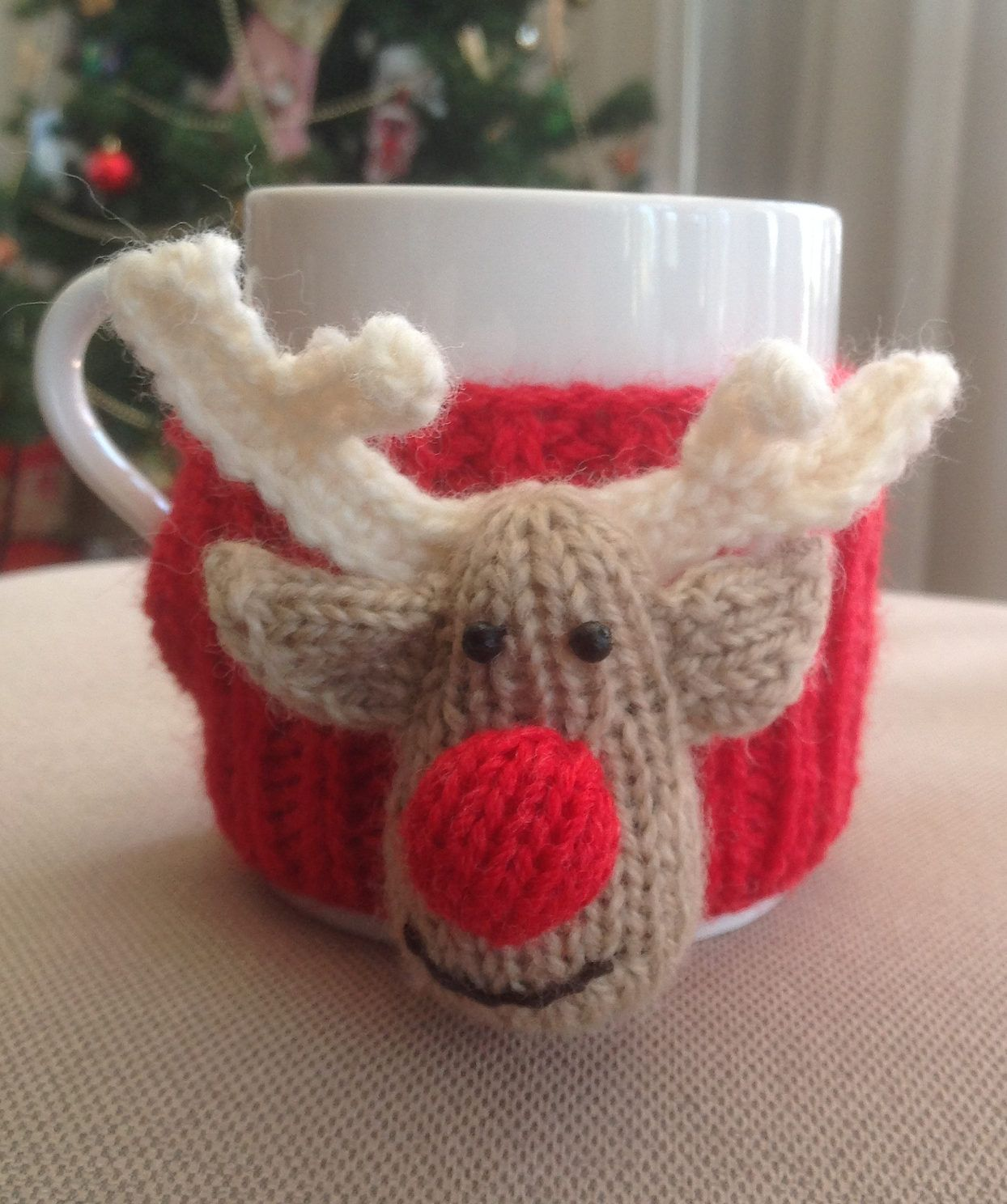 Free knitting pattern for reindeer cup cosy adorable mug cozy free knitting pattern for reindeer cup cosy adorable mug cozy with rudolph face small bankloansurffo Images