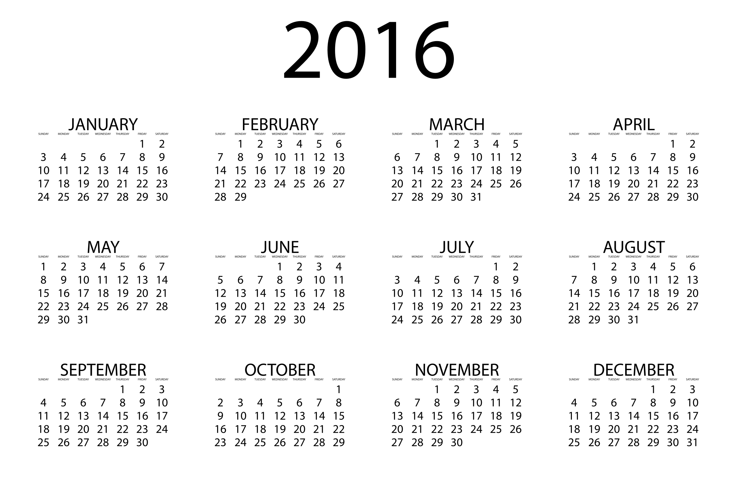 2016 calendar printable one page landscape