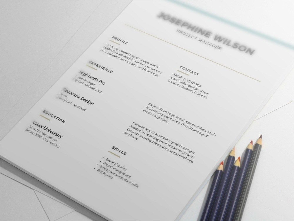 Free Minimalist Resume Template with Lines Accents