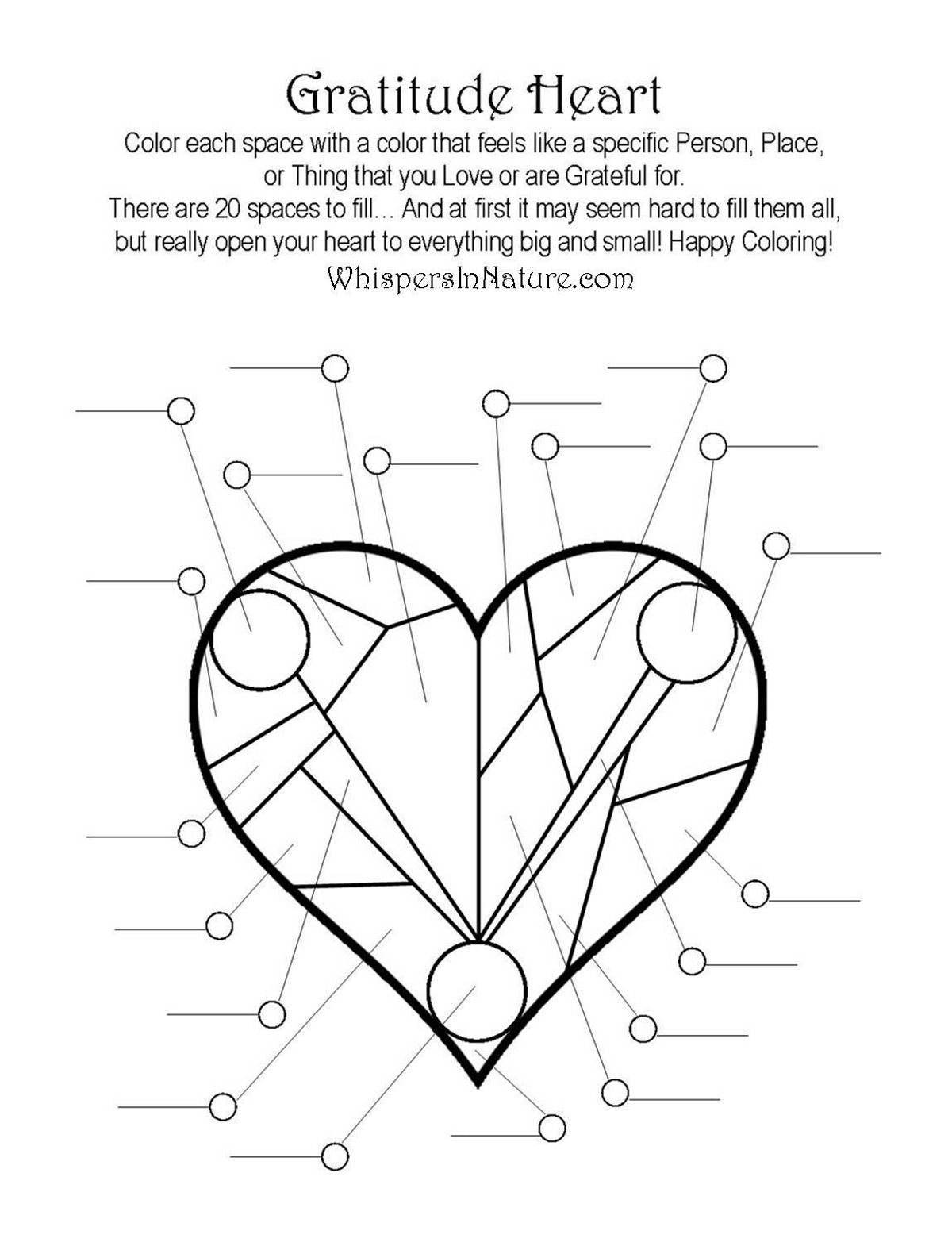 Gratitude Heart Colouring Page Free Colouring Pages