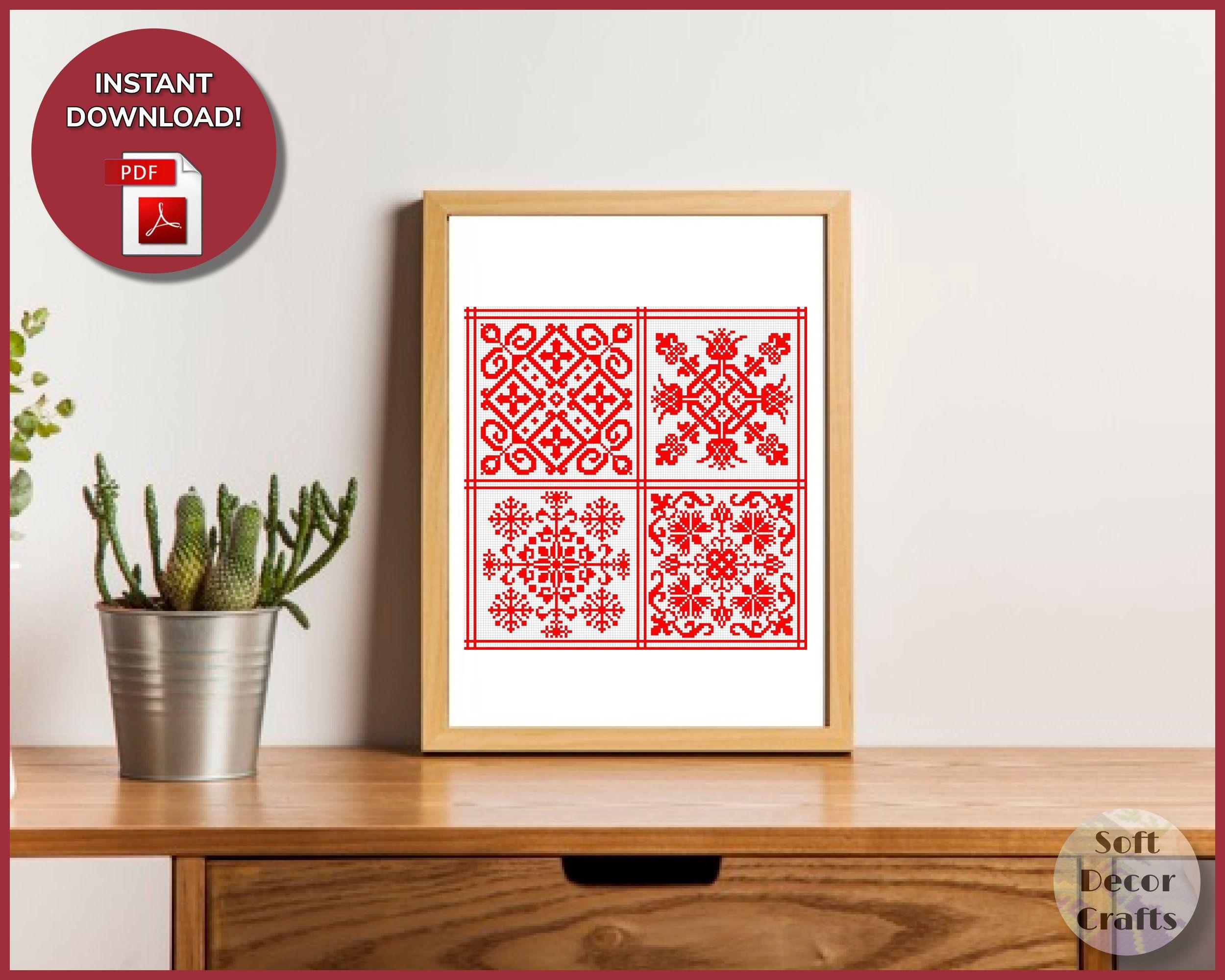 Sampler Ornament Red Cross Stitch Pattern, Pillow Embroidery, Nordic Cross stitch pattern, Classic Easy stitch, Primitive Cross Stitch, PDF