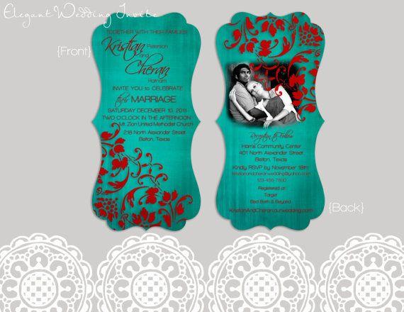Wedding Invitations Turquoise: Red And Turquoise Wedding Invitation On Etsy