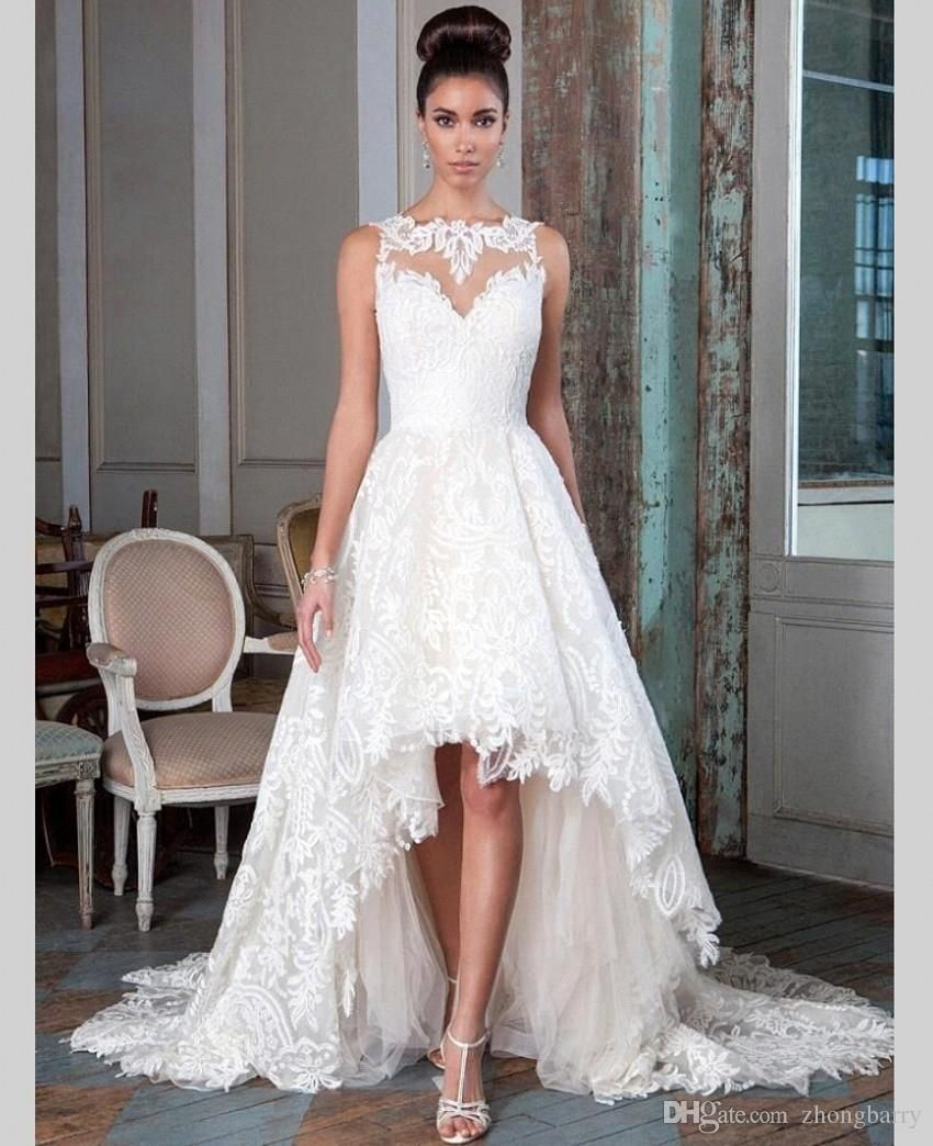 Lace sleeveless high low ruch customized bridal wedding gowns front