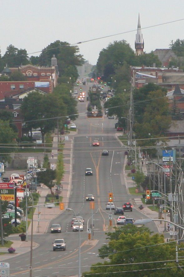 Looking west down Broadway into Orangeville, Ontario-typical small town  Ontario
