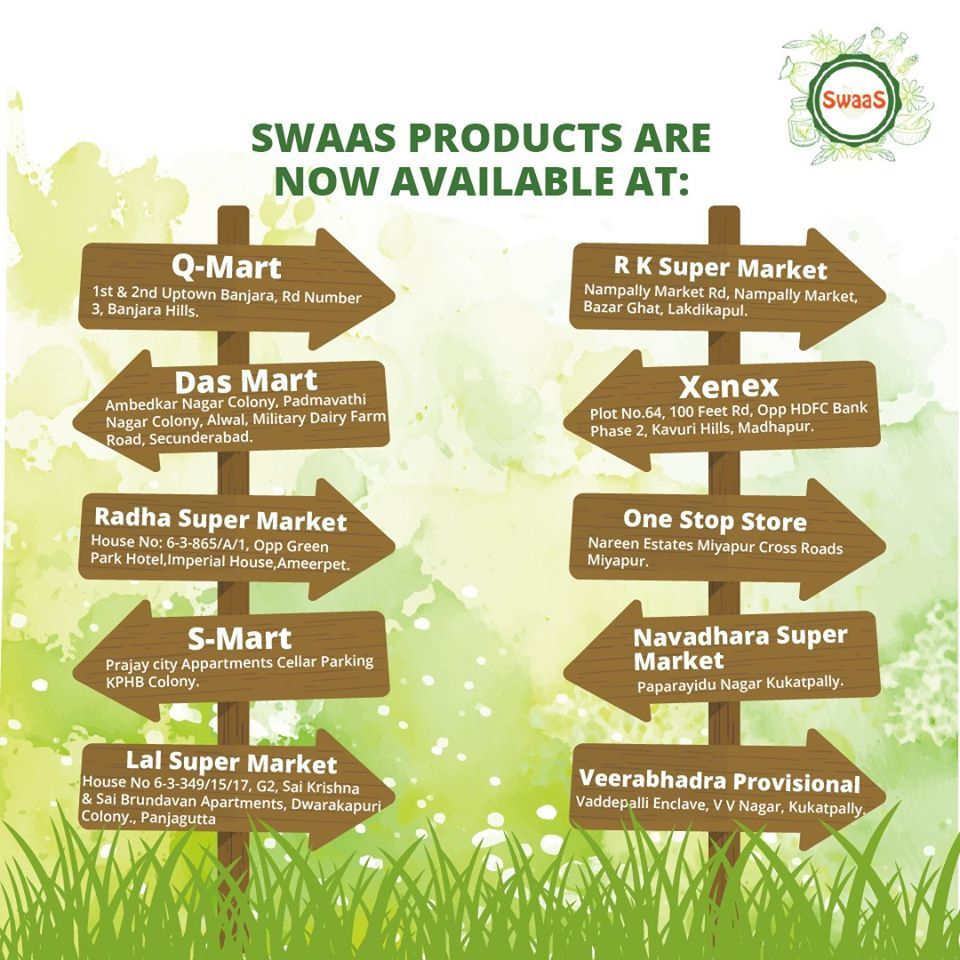 When the product is right, you don't have to look for it. It will find ways to reach you!  SWAAS Natural Products are available at these stores.  #SwaasNatural #OrganicProducts #GoGreen #GoWithNature #EnvironmentFriendly #Organic #DustCleaner #StainRemover #AirFreshner #NaturalPowder #Cleaning #NaturalProducts #OnlineOrders #HouseKeepingProducts