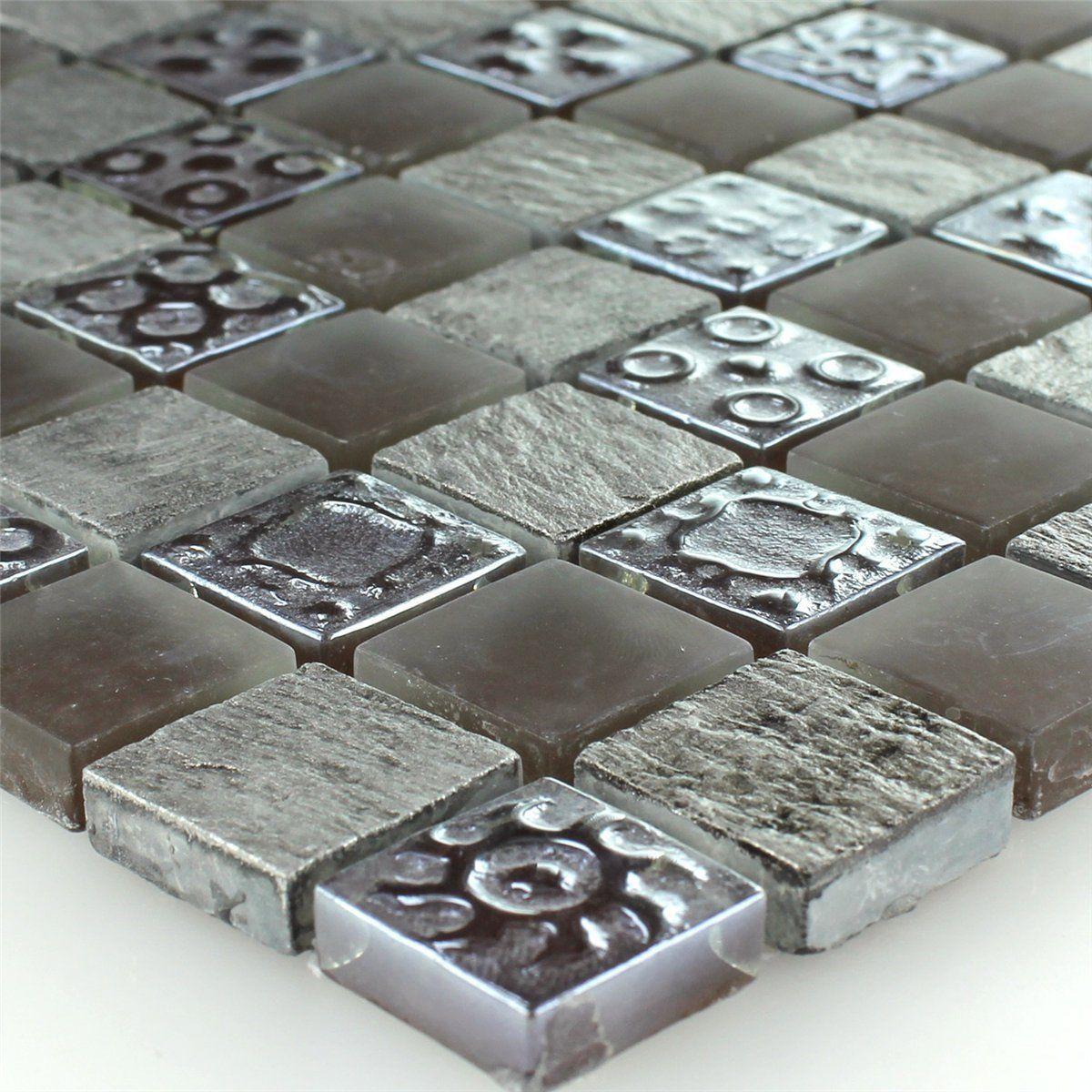 Details Zu Kalkstein Glas Mosaik Fliesen Grau Braun Xxmm - Mosaik fliesen braun gold