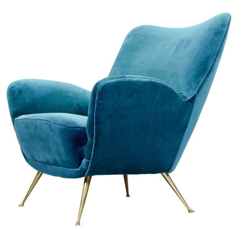 Midcentury Velvet Chair With Brass Legs 1960s In 2020 Velvet Chair Mid Century Lounge Chairs Vintage Lounge Chair