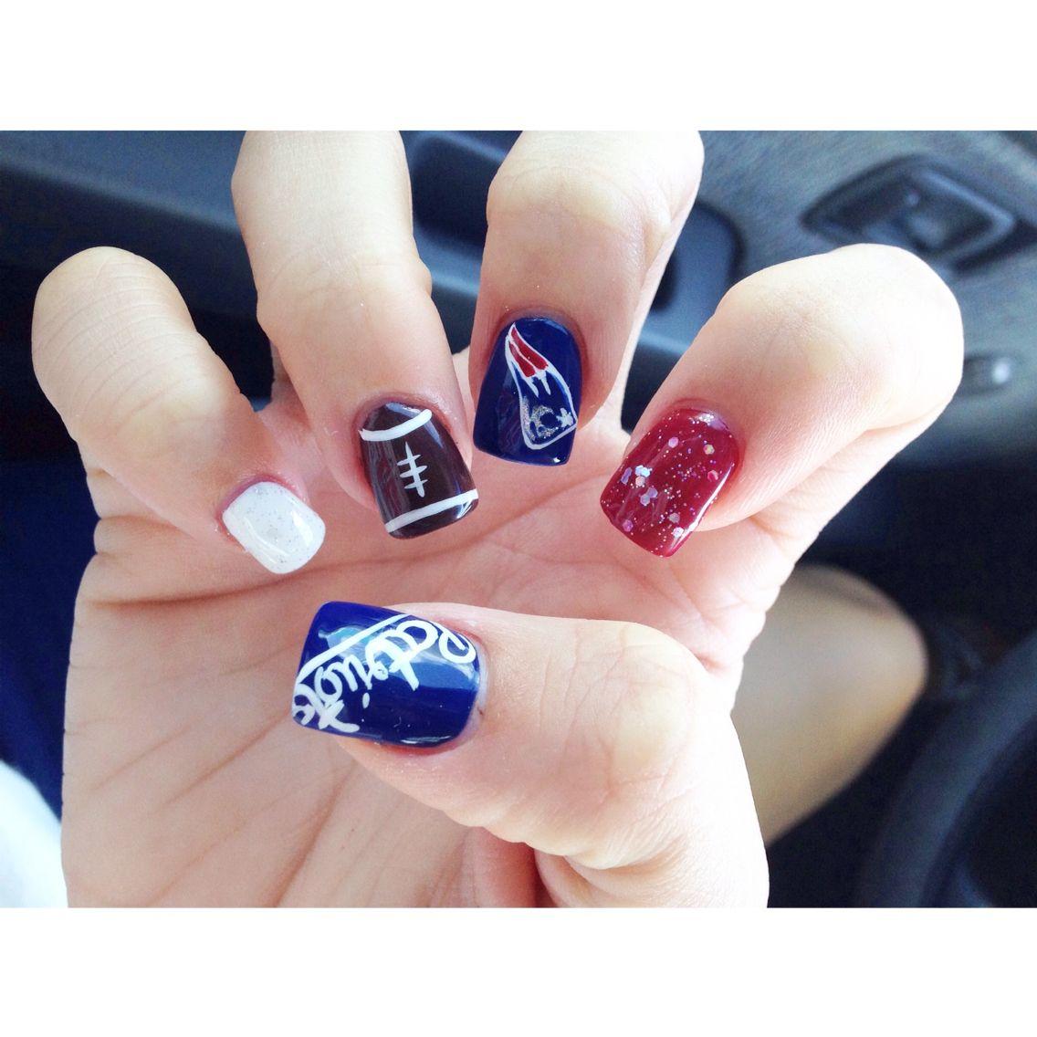 New England Patriots Nails Nflnails Footballseason Patriotsnation Patriots Nail Art Nails Patriotic Nails Design