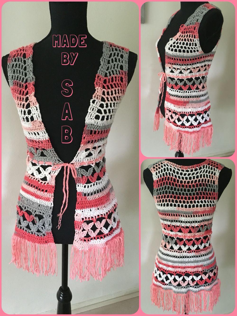 Vestje gehaakt - boho - franjes - Rio Jacquard - verloopgaren - patroon: www.garnstudio.com - Summer Bloss Vest - #crochet Made by Sab