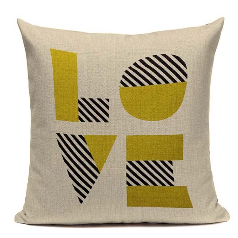 Cushion Cover Home & Garden Fashion Yellow Color Love Cushions Cover Heart Home Decor Linen Cotton Pillow Cover Decorative Throw Pillows Pillowcase