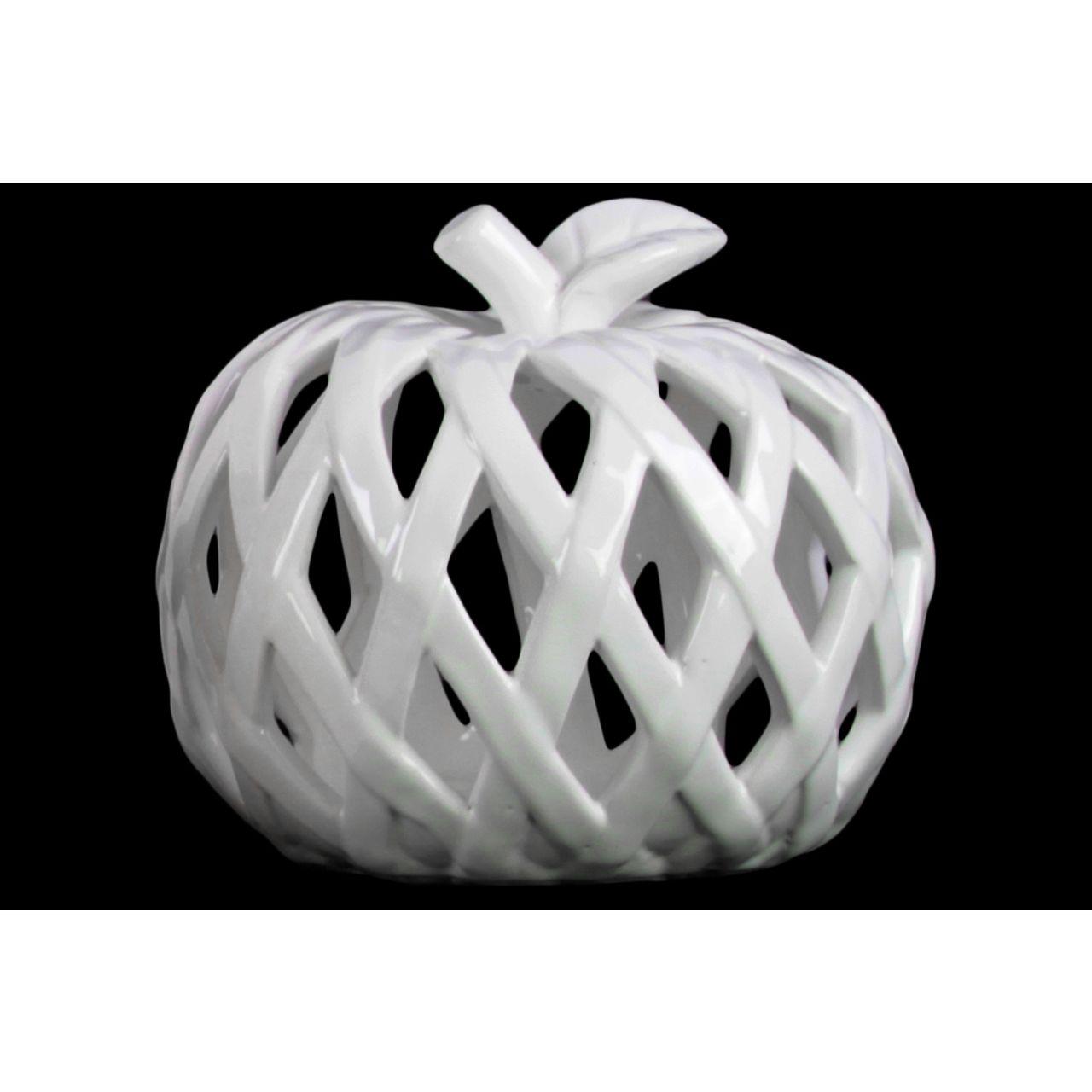 Ceramic Apple Figurine with Leaf on Stem and Cutout Design