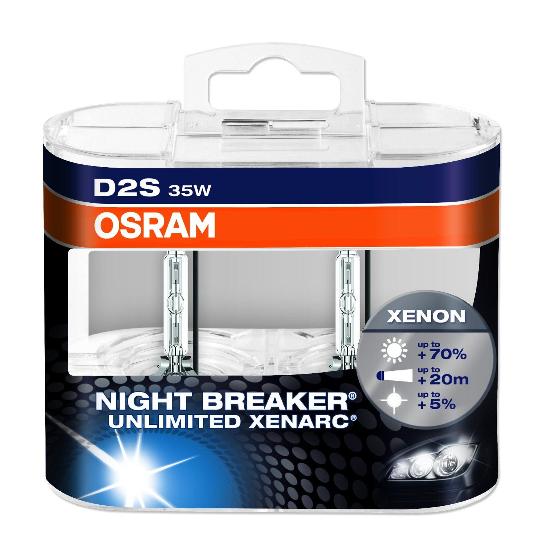Osram Xenarc Night Breaker Unlimited D2s Xenon Headlamp Blub 66240xnb Hcb 70 More Light In Double Box Amazon Co Uk Car Motorbi Hid Xenon Breakers Headlamp