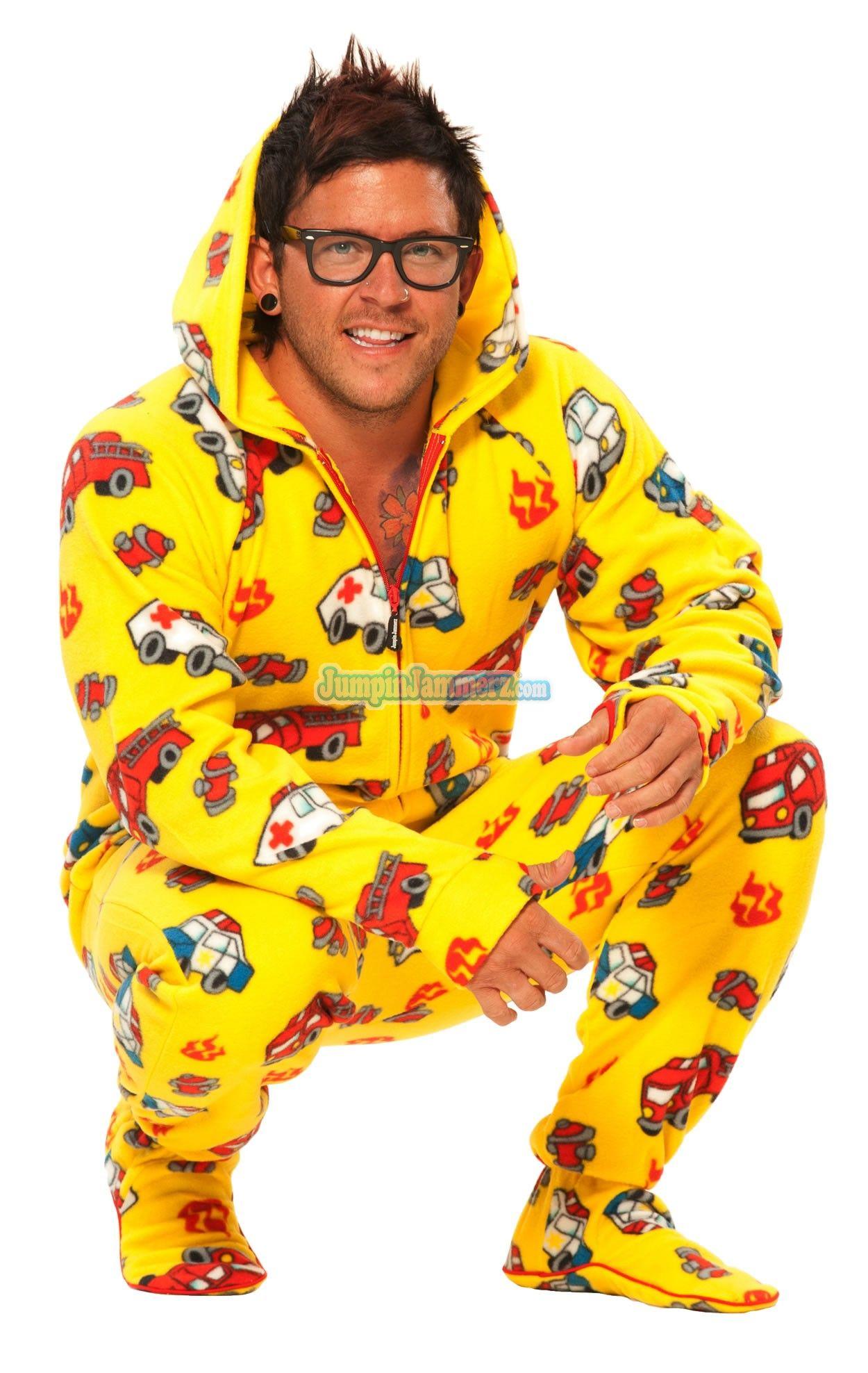 Yellow Fire Trucks Hooded Footed Pajamas Pajamas