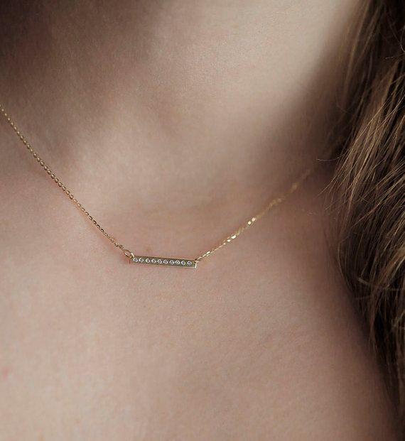 Pave Diamond Necklace Diamond Bar Necklace Gold Filled Chain Minimalist Jewelry Pave Diamond Bar Layeing Necklace Pave Diamonds