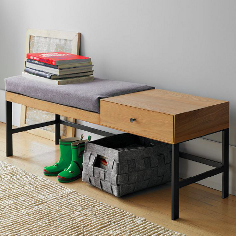 Offset Bench :: West Elm - Offset Bench :: West Elm Hall Bench, Entrance Halls And Foyers