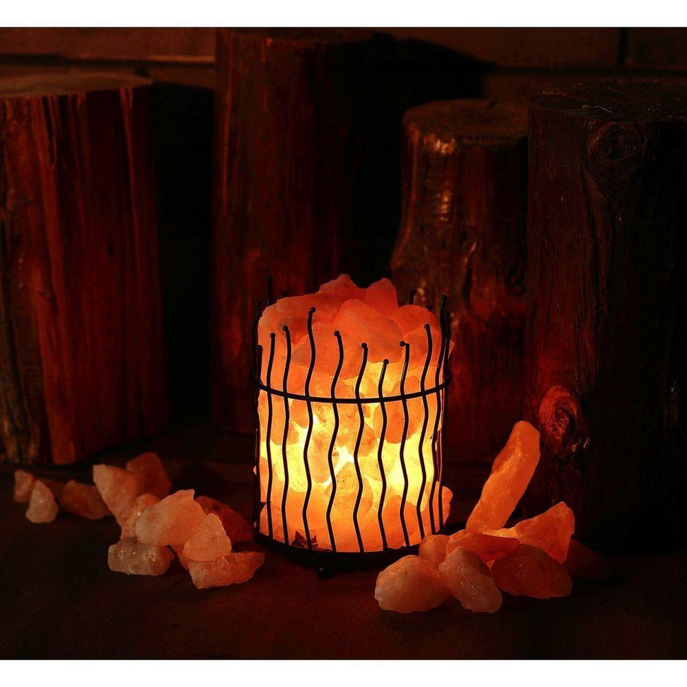 Natural Himalayan Crystal Salt Lamp Basket Glow Rock Relax Light Decoration New Unbranded