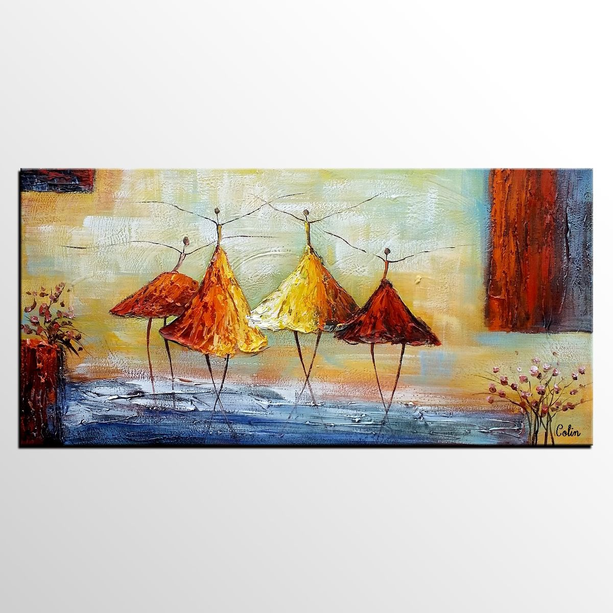 Large Paintings For Living Room Abstract Art Ballet Dancer Painting Wall Art Modern Art Living