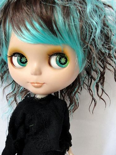 "Short BLUE & Brown Curly Hair Wig for 12"" Blythe Doll"