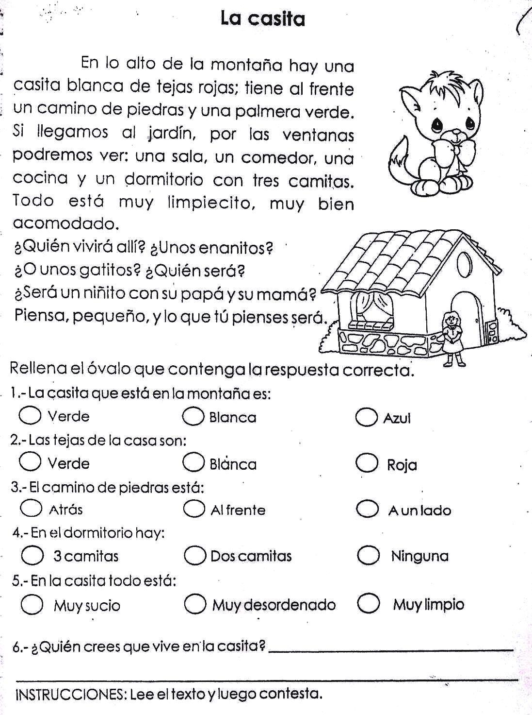 Fichas Infantiles: Ficha infantil de comprensión lectora   Lectura y ...
