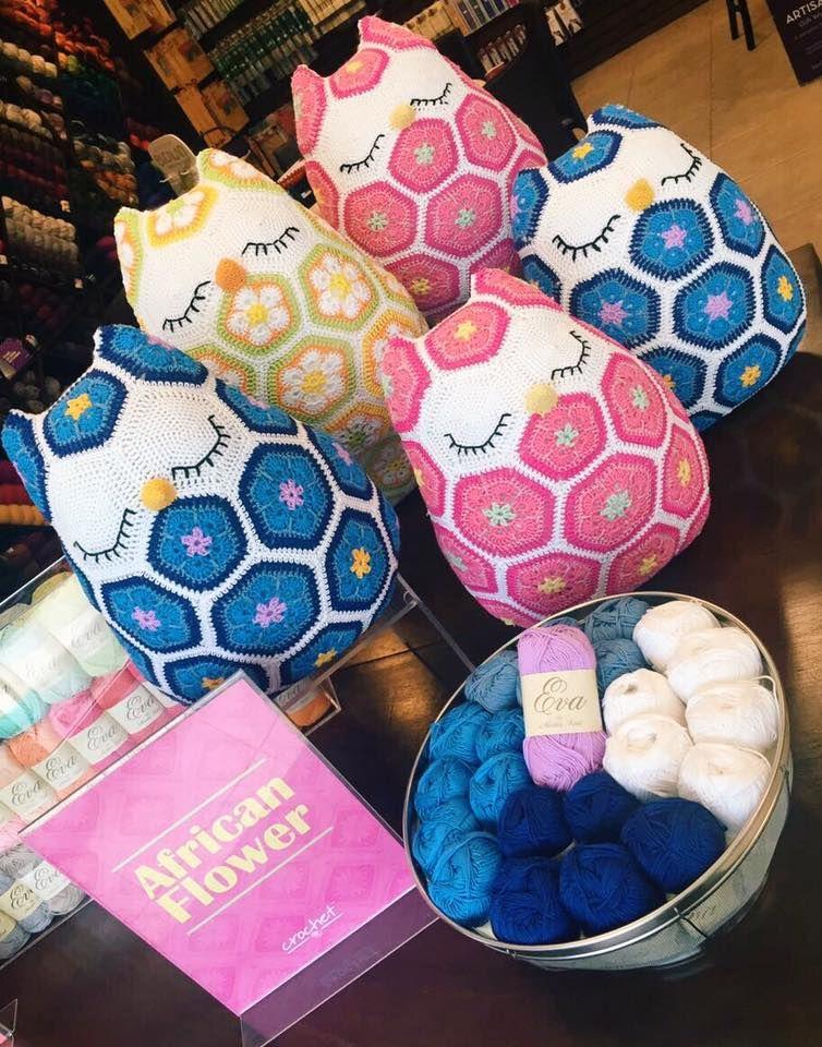 PATRON - BUHO EVA AFRICAN FLOWER - Estambres Crochet | colchas ...