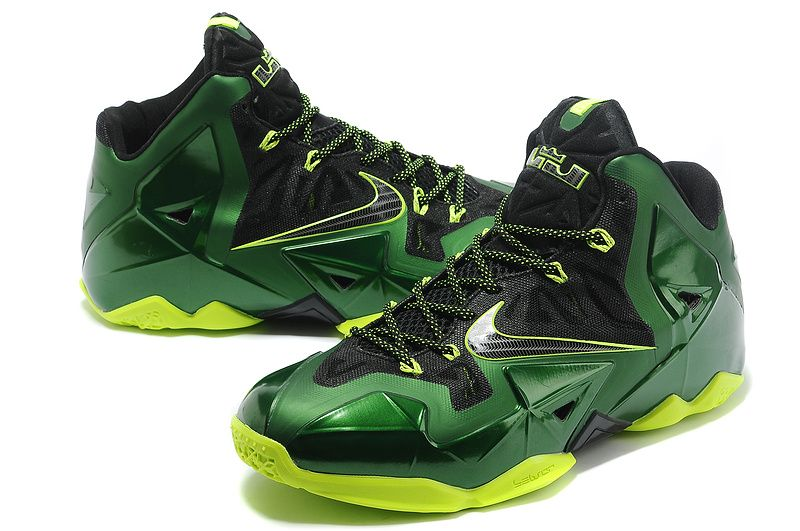 Nike LeBron 11 Signature Shoes Mens Nike Basketball Shoes - Green Black  Yellow (5)
