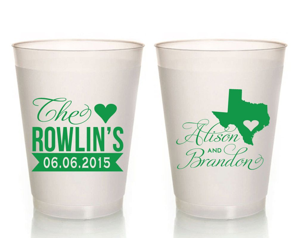 State Wedding Cups, Wedding Favor Frosted Cups, Wedding Shower ...