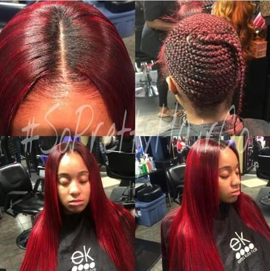 pictures black hair sew in styles middle part nails and hair middle 2194
