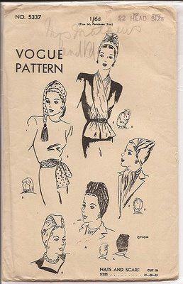 Vintage Vogue turban patterns.  84126cec802