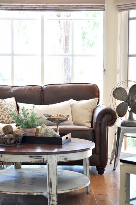 cottage style furniture living room with brown sofa | Cottage Style Living Room. Love the brown leather couch ...