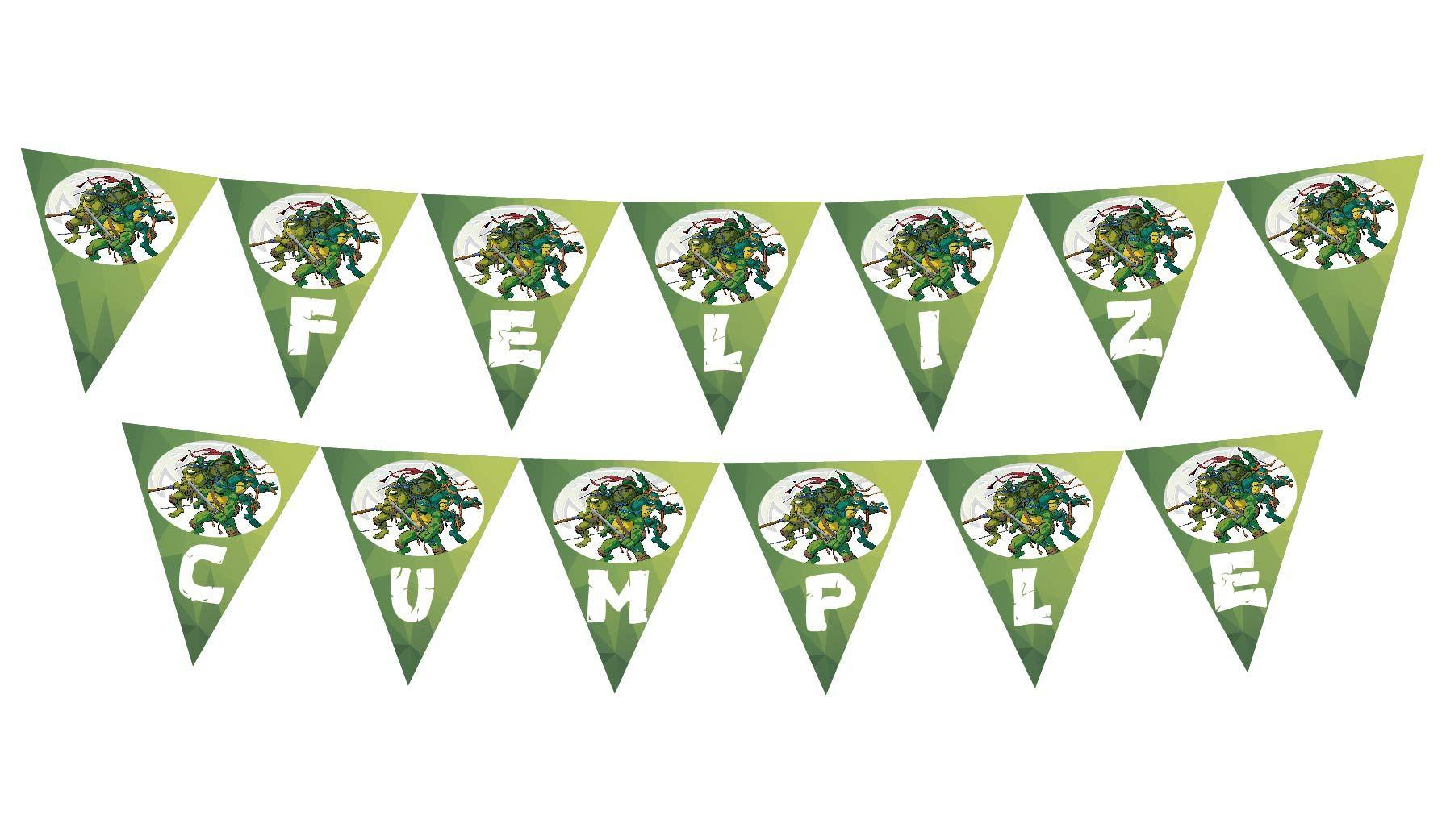 Banderin Tortugas Ninjas Feliz Cumple #tortugasninjas #cumple ...