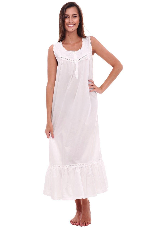 28586ca239cf2 Womens Patricia Cotton Nightgown- Long Victorian Sleeveless ...