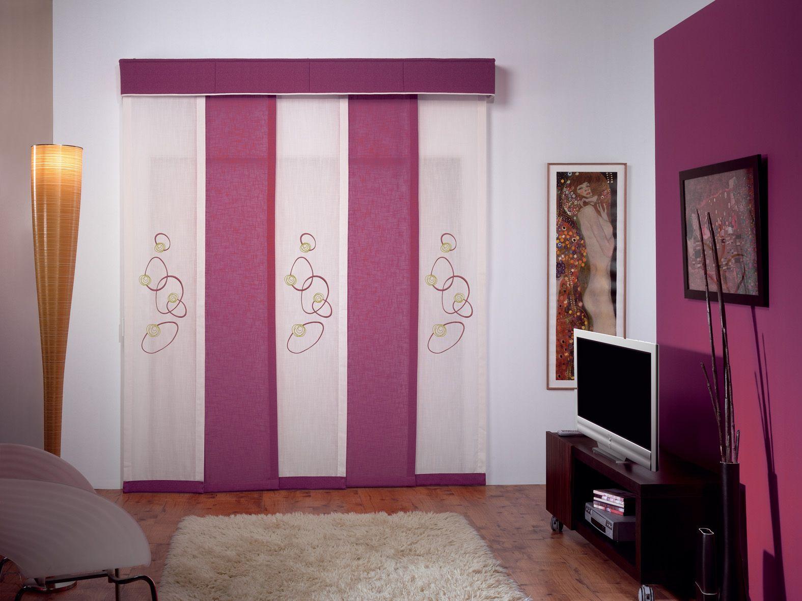 Panel japon s de 5 v as y volante de tela decoracion de interiores panel cortinas y - Cortinas originales para dormitorio ...