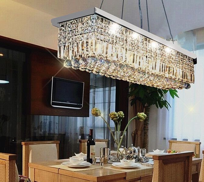 Genial Rectangular Crystal Chandelier Dining Room