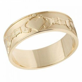 10 Karat Gold Claddagh Mens Wedding Band This Wedding Ring Is Made And Hallmarked In Ireland And Delivered Mens Wedding Bands Claddagh Jewelry Wedding Bands