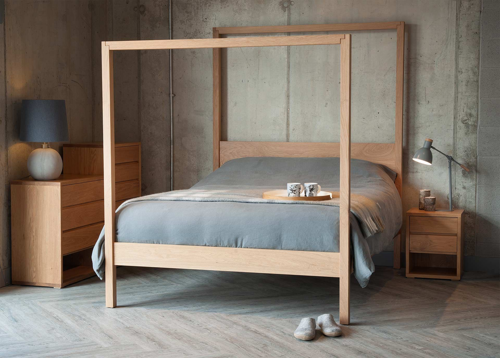 A Contemporary Four Poster Bed Made From Solid Hardwoods Such