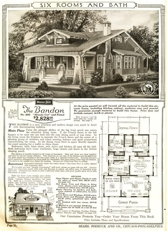 The Bandon Was A Sears Craftsman Bungalow Mail Order House 1915 1920 Identical Floor Plan But Rooms Vintage House Plans Craftsman House Craftsman Bungalows