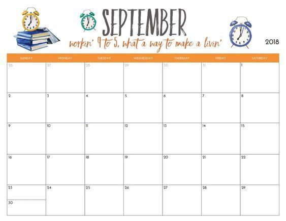 September 2018 Calendar Editable Template September 2018 Calendar