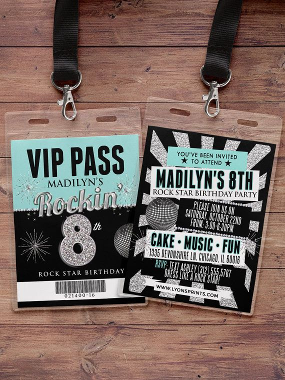 Any age, birthday invitation, rock star, VIP PASS, backstage pass