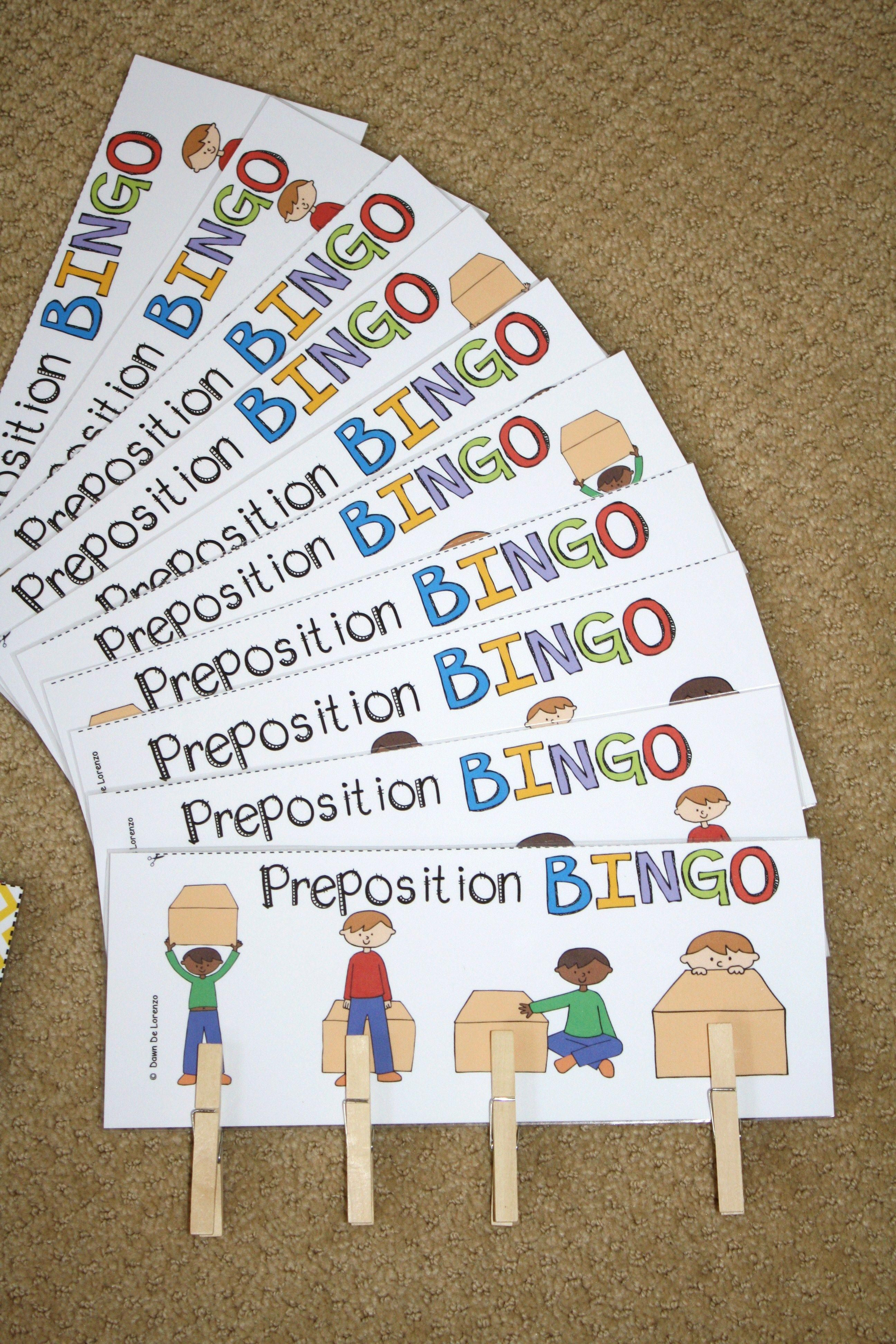 Preposition Bingo Great For Learning Positional Words And