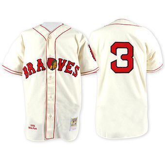 Men s 1935 Boston Braves Babe Ruth Mitchell   Ness White Authentic Throwback  Jersey 8d4ff0d1b2