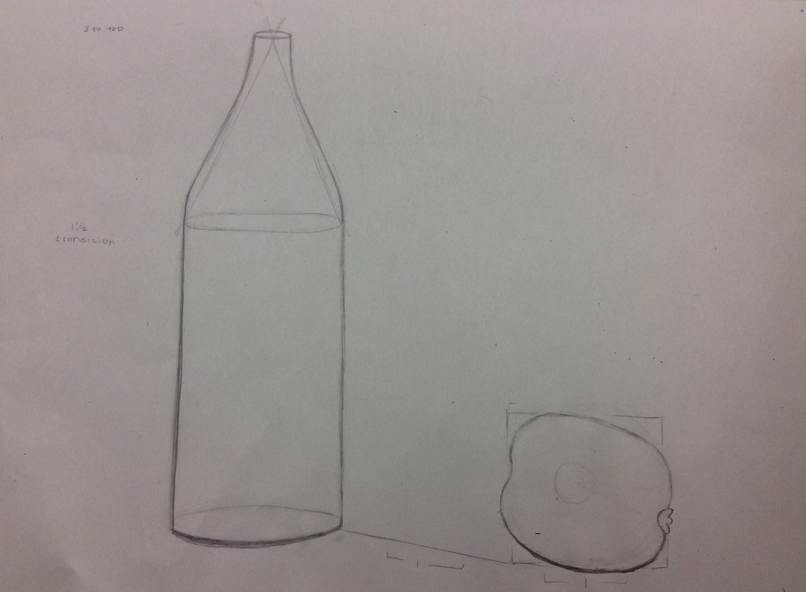 Bottle and Fruit Drawing