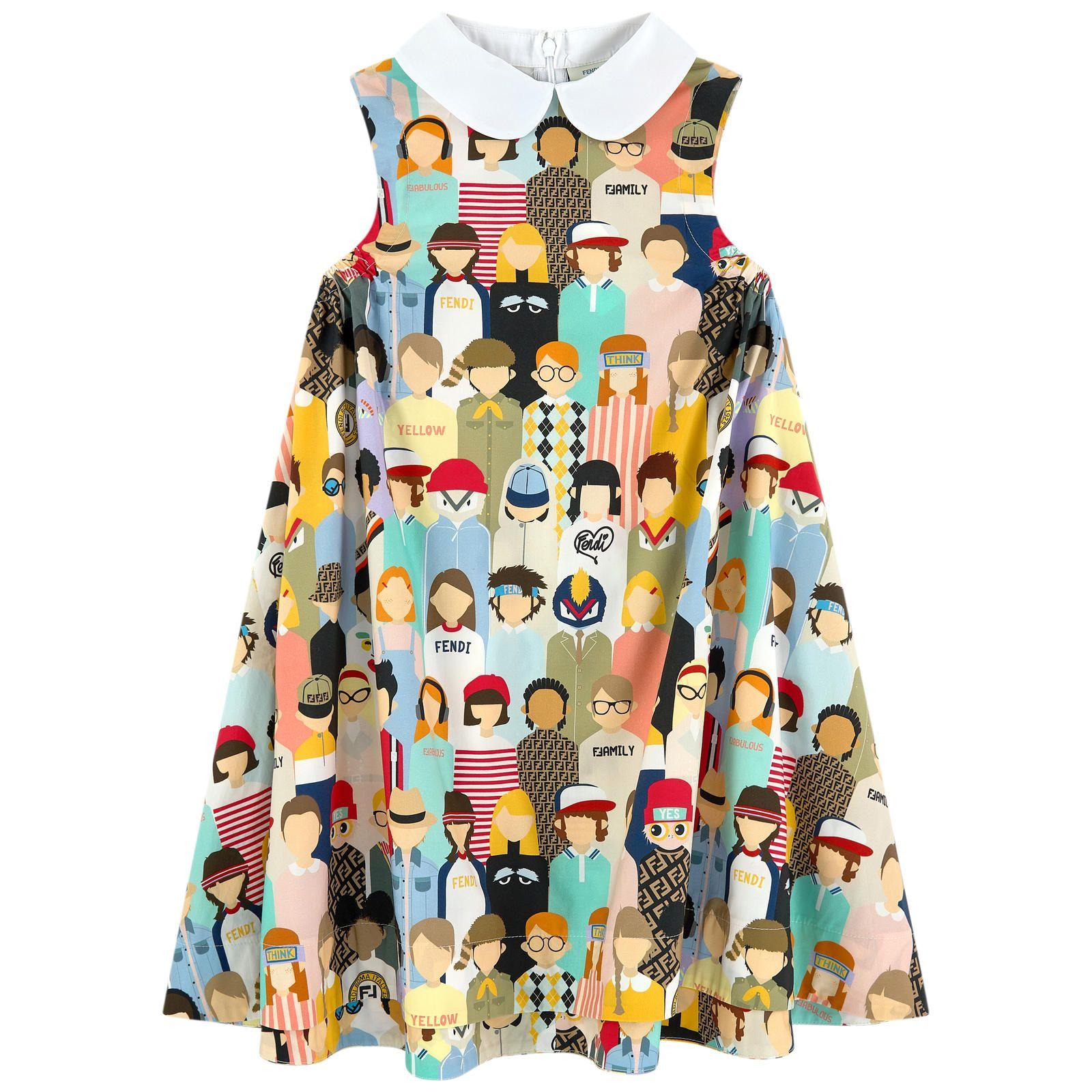 Print-Kleid mit Claudine-Kragen Fendi für Mädchen  Melijoe.com