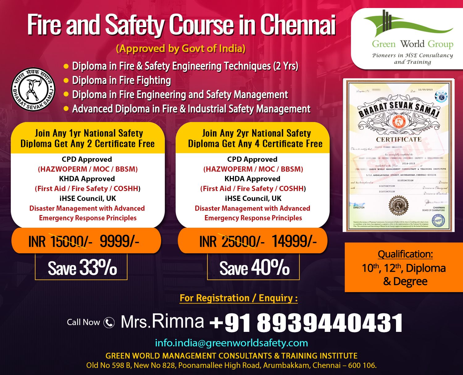 Best Choice for Fire Safety Course in Chennai Safety