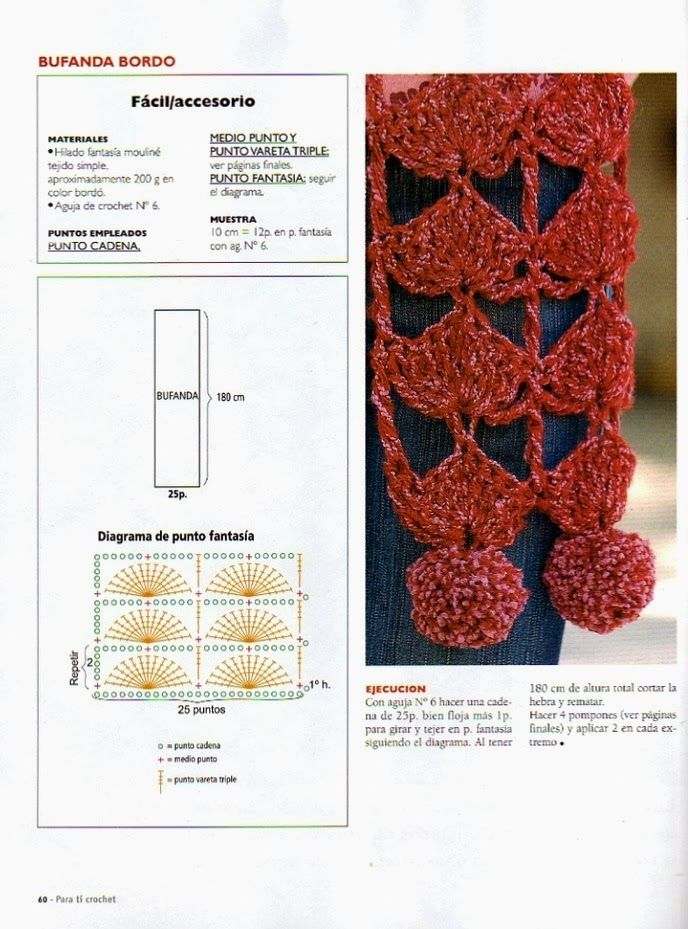 Patrón Esquema Diagrama Crochet Ganchillo - Bufanda | crocheting ...