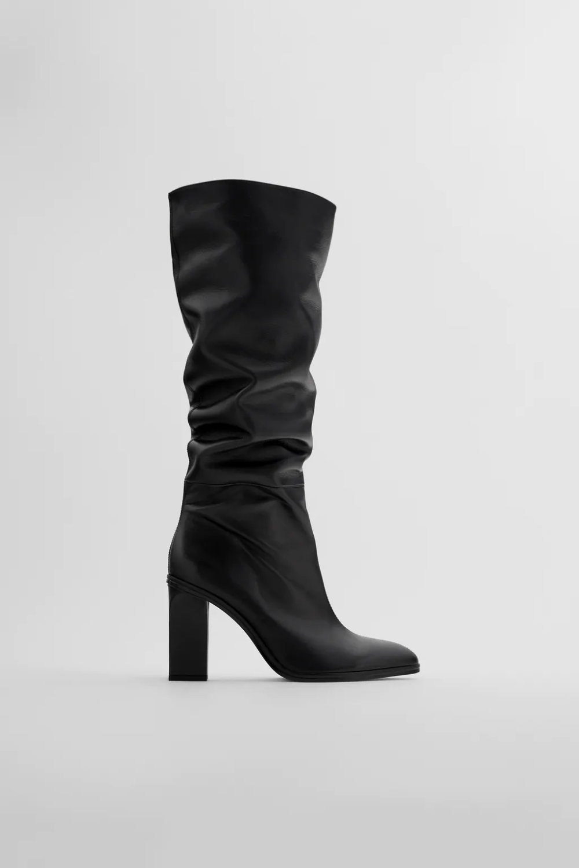 Skorzane Kozaki Na Obcasie Typu Slouchy Zara Polska Poland Leather Boots Heels Boots Leather Boots